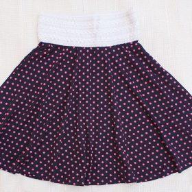 חצאית פנינית כחול נקודות ורודות