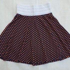 חצאית פנינית כחול נקודות כתומות