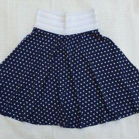 חצאית פנינית כחול נקודות לבנות