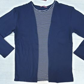 חולצת יערה ארוכה כחול זג זג